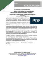 NP. 011-14 Municipalidad de Lima Reafirma Que No Hay Peligro Estructural en Las Bases Del Puente Carriquiry