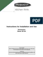 Hotpoint Dishwasher - Model BFV62 Manual