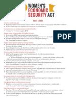 Women's Economic Security Act - Fact Sheet