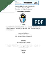 EL PROGRAMA SEMIESCOLARIZADO Y LA CALIDAD EDUCATIVA DEL PRODOFSA EN LA UNIVERSIDAD NACIONAL JOSÉ FAUSTINO SÁNCHEZ CARRIÓN, 2012