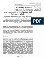 Use of Export Marketing Research by Industrial Firms - An Application and Extension of Deshpande and Zaltman's Model