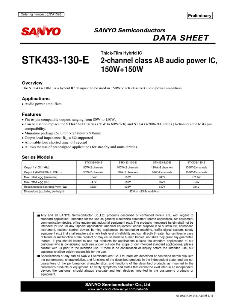 Stk433 130 Amplifier Power Supply Stk Audio Ic 60w
