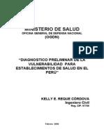 """""""DIAGNOSTICO PRELIMINAR DE LA VULNERABILIDAD DE SALUD MINSA"""