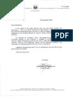 LTR-484-2009.Typhoon Ondoy (Ketsana) - Message From Philippine Consul General Marciano Paynor, San Francisco