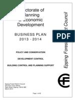 Planning Economic Development Business Plan 2013-14
