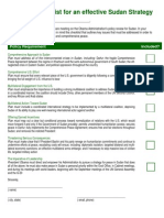 Sudan Policy Review Checklist