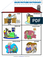 Rooms in a House Pictionary Poster Worksheet