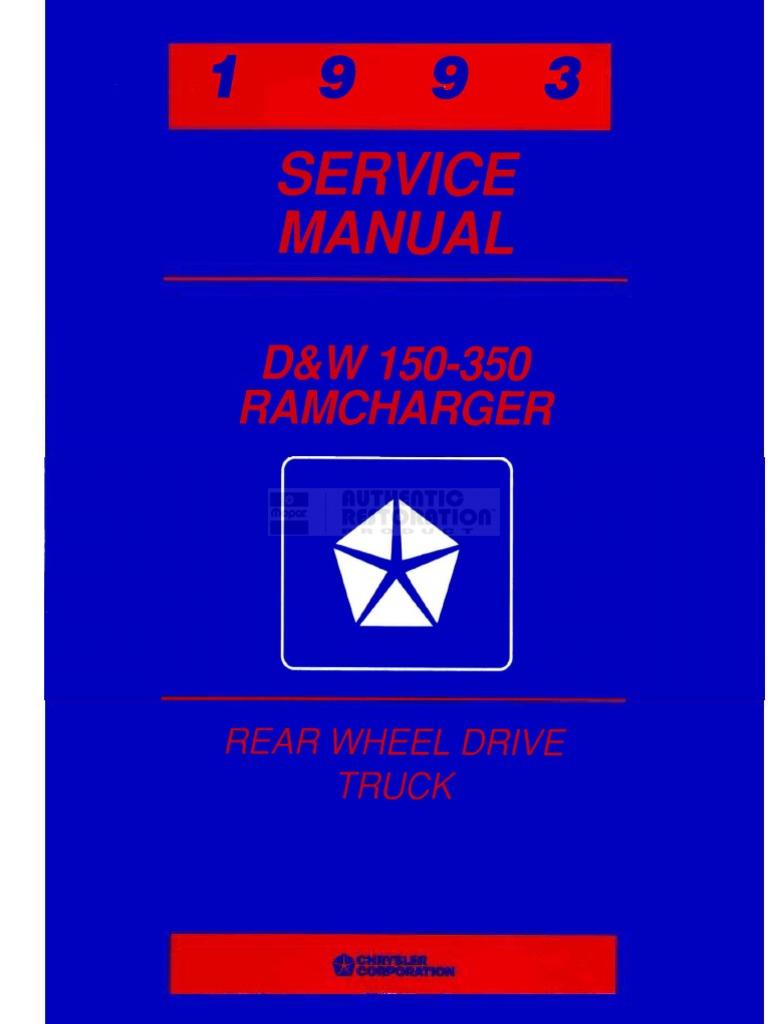 93 Dodge Truck Service Manual Alternator Amp Gauge Wiring Ram Ramcharger Cummins Jeep