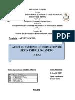 Audit du Système de formation de Benin Emballo Gankpo