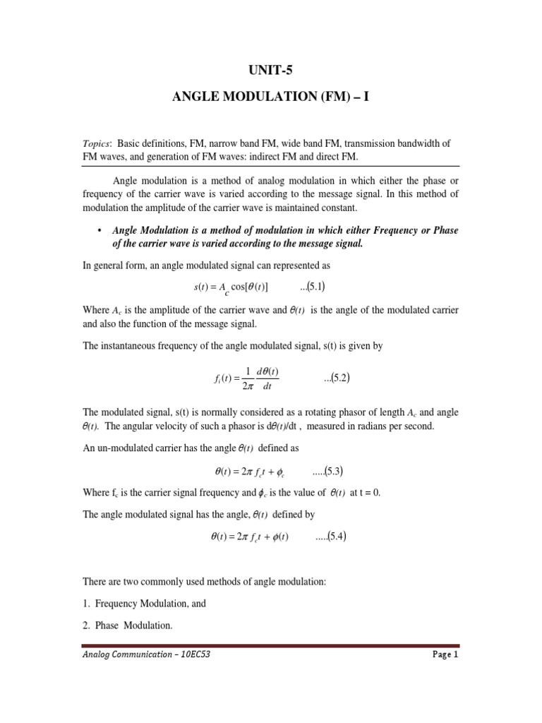 4 Angle Modulation FM | Frequency Modulation | Capacitor