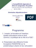 Séminaires-FSE-et-politique-de-la-Ville-2012 Languedoc Roussillon