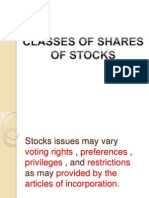 Classes of Shares Of Stocks