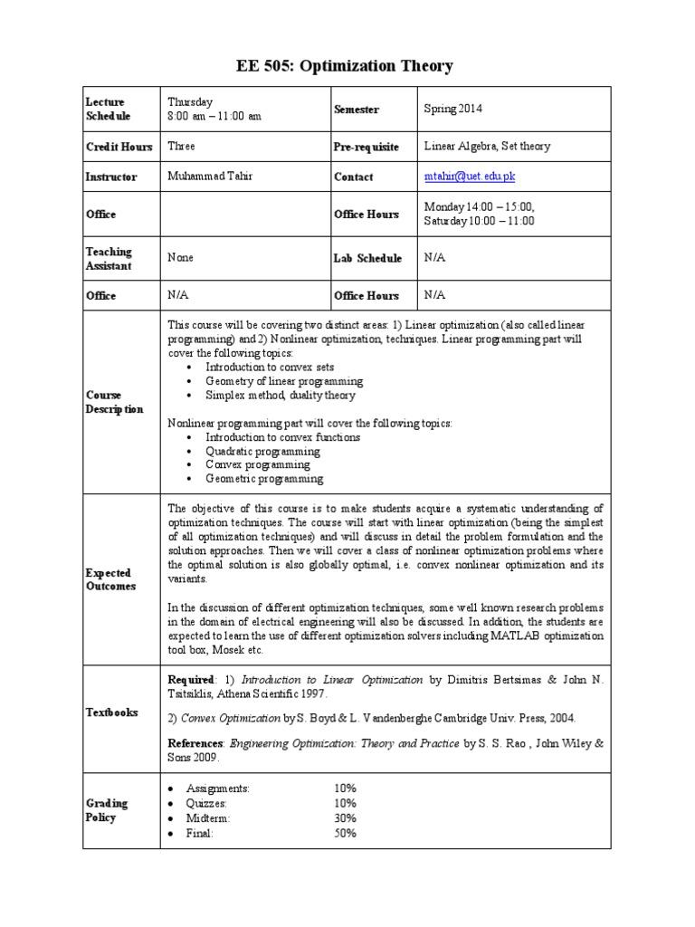 EE505 Optimization Theory 2014 | Mathematical Optimization