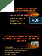 REFLEXIONES SOBRE EL CAMBIO DE LA MATRIZ PRODUCTIVA Y EL SECTOR EXTERNO grupo