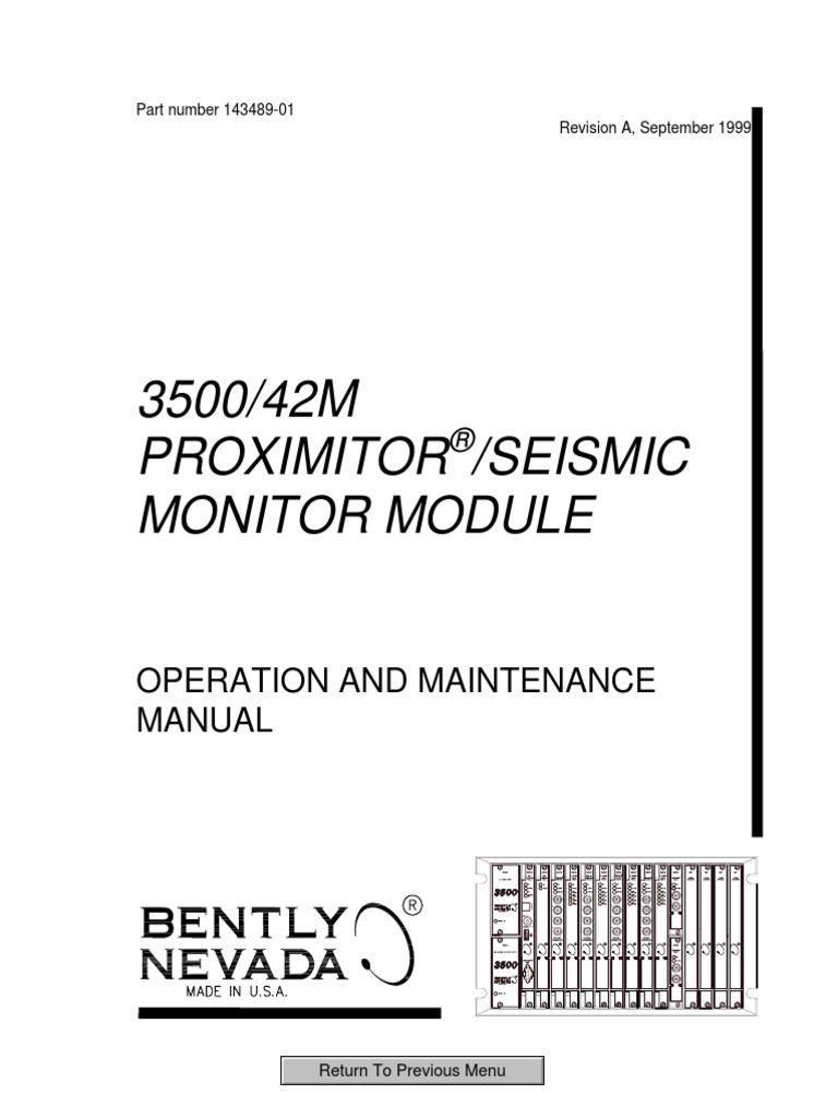 USED Bently Nevada 3500//42M Seismic Monitor Module PWA 140734-02 Rev B