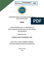 LA PARTICIPACIÓN SOCIAL Y LA GESTIÓN DE LAS INSTITUCIONES EDUCATIVAS ESTATALES  DE LA REGIÓN  LIMA PROVINCIAS
