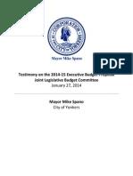 Mayor Mike Spano's Testimony on the 2014-15 Executive Budget Proposal
