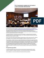 Balance CEPAL 2013. Crecimiento modesto de AL frente al escaso dinamismo de la economía internacional