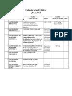 Calendarul activităţilor