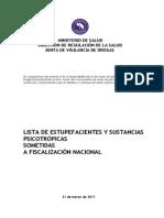 Estupefacientes y Psicotropicos Listado Oficial 2013