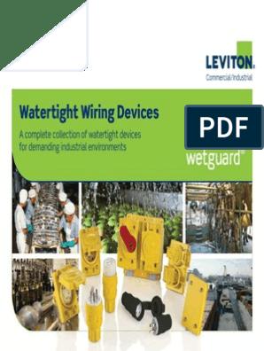 125 Volt Leviton 15W47-B 15 Amp Industrial Grade Grounding Wetguard Connector Black Straight Blade