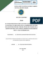 EL USO DE ESTRATEGIAS METACOGNITIVAS ENEL PROCESO DE LA LECTURA Y SU RELACION CON LA COMPRENSION LECTORA DE LOS ESTUDIANTES DEL TERCER AÑO DE SECUNDARIA DE LA INSTITUCION EDUCATIVA PUBLICA DOMINGO MANDAMIENTO SIPAN - UGEL 09, PERIODO 2011