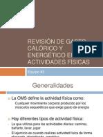Revisión de gasto calórico y energético en actividades