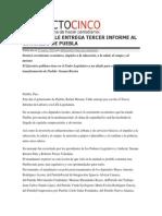 15-01-2014 Proyecto Cinco - Moreno Valle Entrega Tercer Informe Al Congreso de Puebla