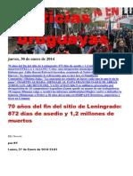 Noticias Uruguayas Jueves 30 de Enero Del 2014