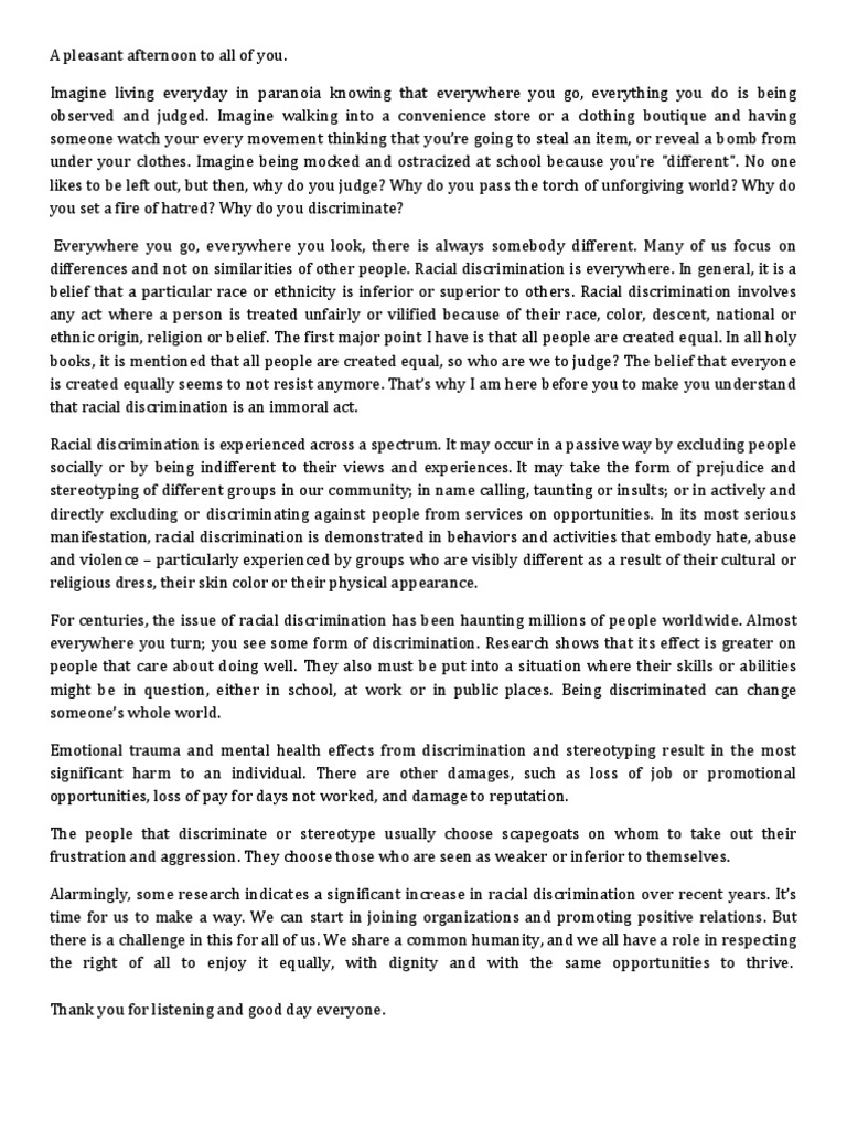 racism persuasive essay