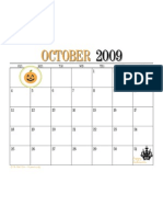 October 2009 Printable Calendar