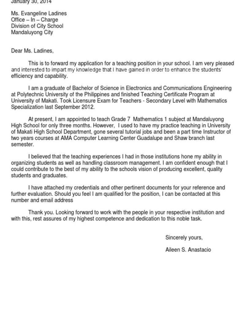 Teacher Application Letter