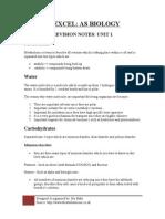 Edexcel as Biology Revision Notes Unit 1
