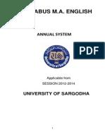 University of Sargodha MA English Syllabus
