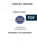 University of Sargodha MA English Syllabus