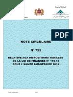 NOTE CIRCULAIRE N° 722 de la loi de finance 2014