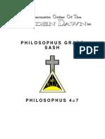 GOLDEN DAWN 4=7 Philosophus Grade Sash