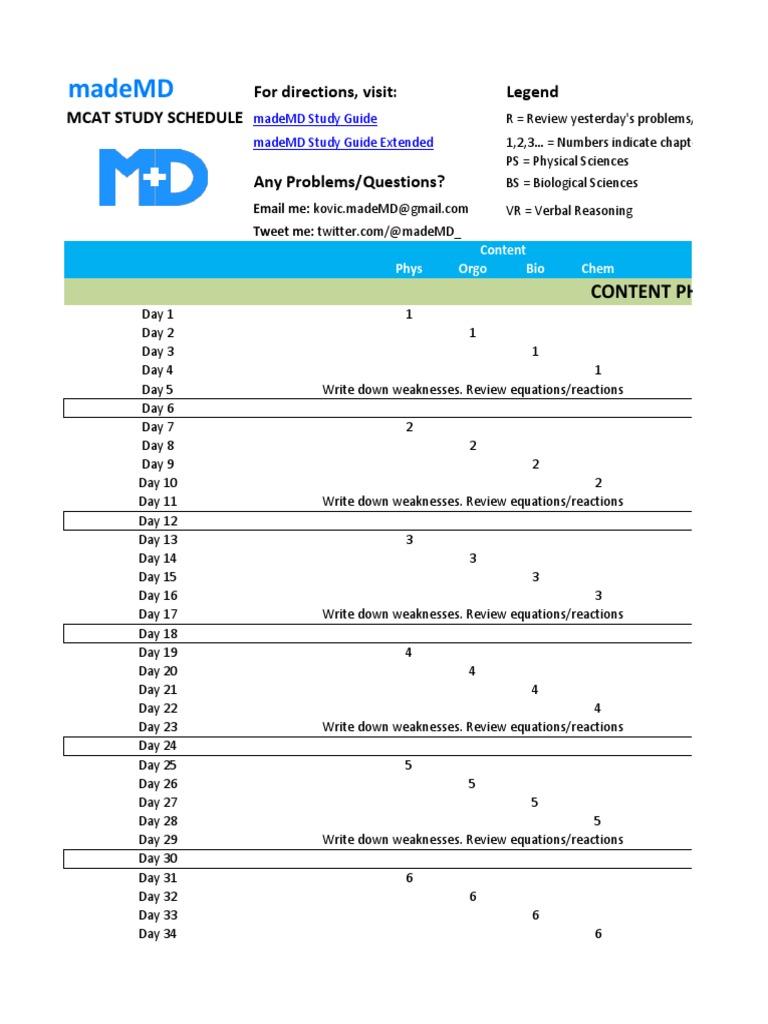 Workbooks tprh verbal workbook : MadeMD MCAT Study Schedule | Medical College Admission Test ...