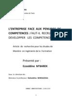 l'Entreprise Face Aux Penuries de Competences Ezzeddine Mbarek 2005