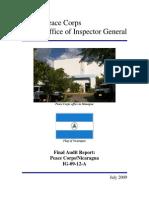 Peace Corps Nicaragua Audit Report IG0912A