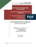 Diseño y control de la Planificación Estratégica para la división ASTRAZENECA de LIFE, con integración de cuadro de mando integral (BSC)