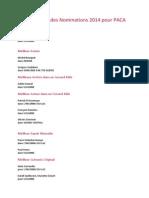 Liste Officielle Des Nominations 2014 Pour PACA