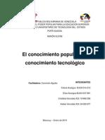 El Conocimiento Popular y El Conocimiento Tecnologico