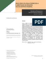 Análise microbiológica da água fornecida a unidades de alimentação de regioes administrativas do distro federal