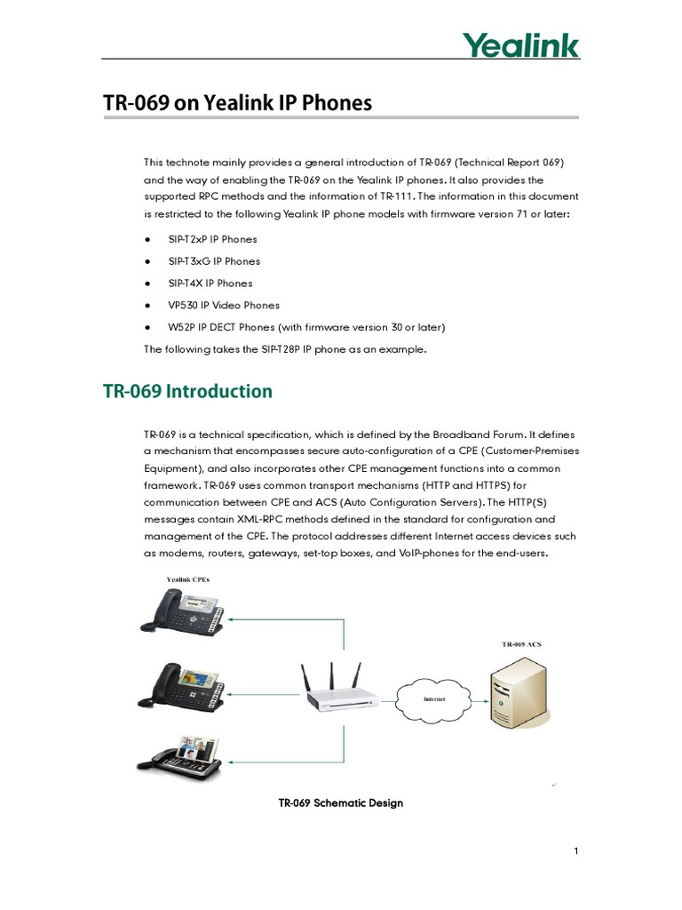Yealink TR-069 Technote   Networking Standards   Network Protocols