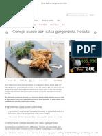 Conejo Asado Con Salsa Gorgonzola