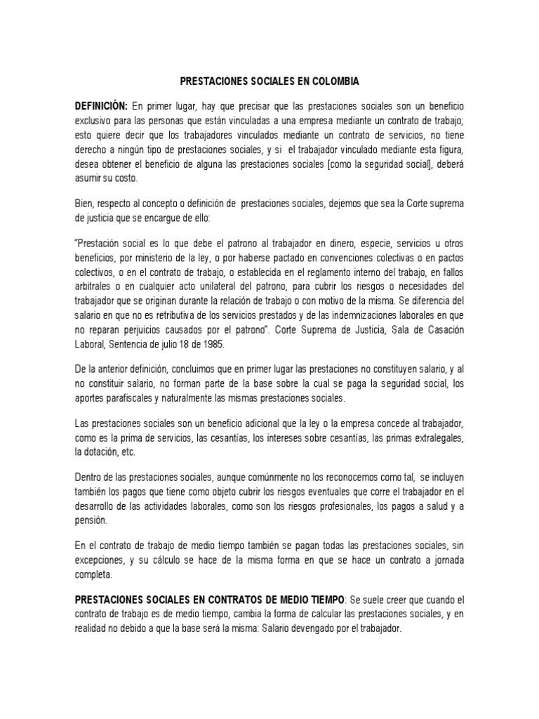 Matrimonio Catolico Resumen : Prestaciones sociales en colombia