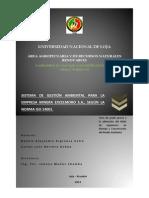 SISTEMA DE GESTIÓN AMBIENTAL PARA LA EMPRESA MINERA EXCELMORO S.A., SEGÚN LA NORMA ISO 14001.