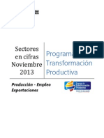 Producción Empleo Exportaciones PTP Noviembre 2013