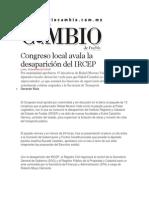 16-12-2013 Diario Matutino Cambio de Puebla - Congreso local avala la desaparición del IRCEP